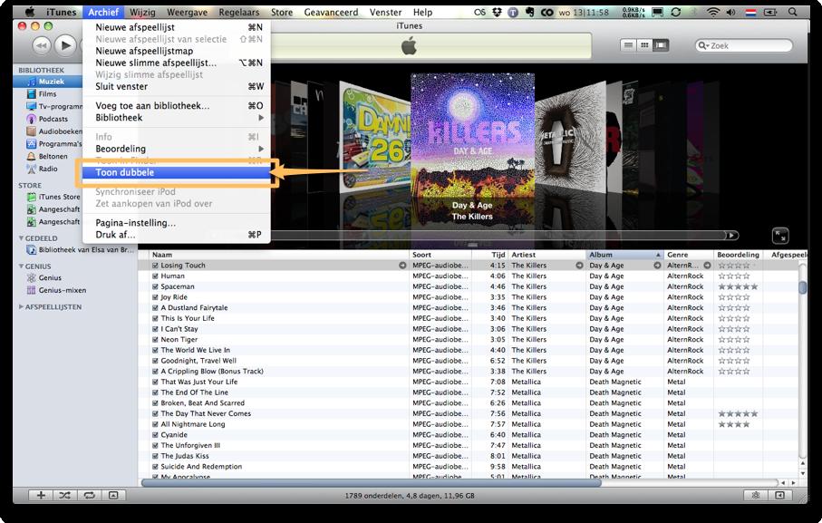 Met iTunes kun je gemakkelijk dubbele bestanden opsporen.